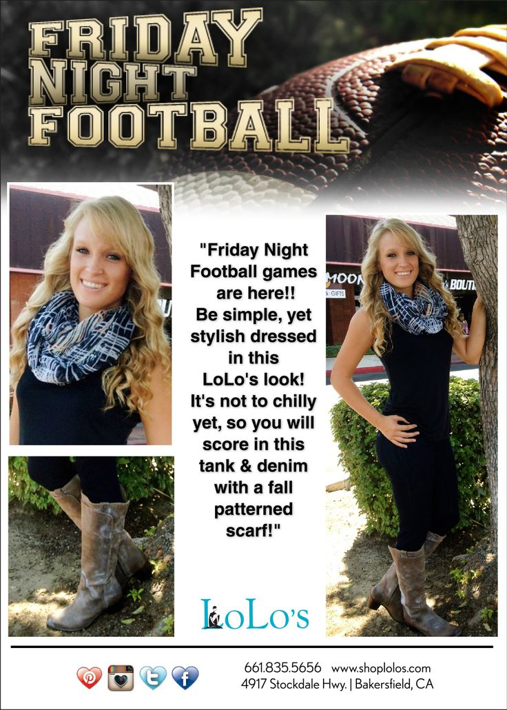 """Friday Night Football games are here!!  Be simple, yet stylish dressed in this LoLo's look! It's not to chilly yet, so you will score in this tank & denim with a fall  patterned scarf!"""