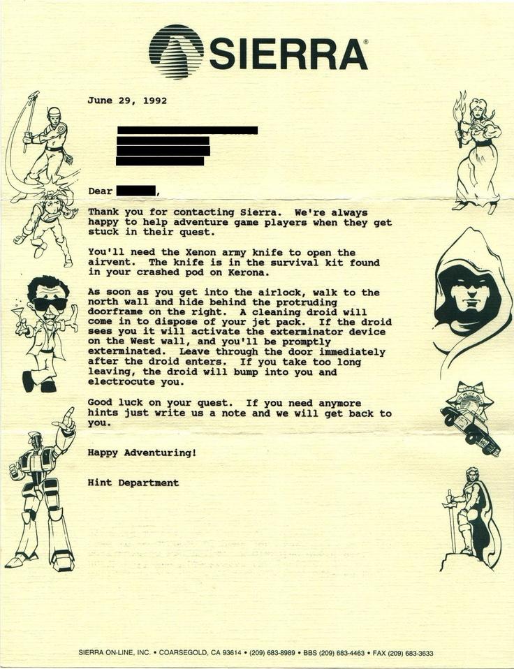 via Reddit user rodonell - Old-school gaming hint system pre-Internet #Gaming #Hint #Retro