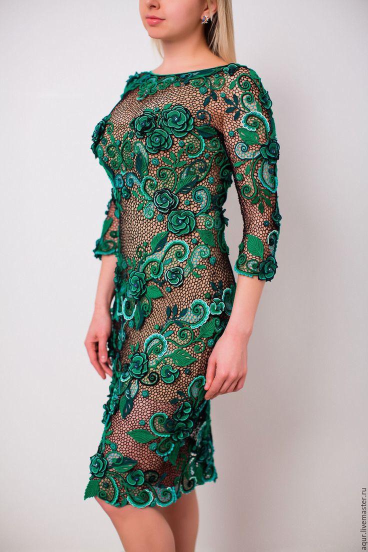 """Купить платье """"Фрейя"""" - зеленый, цветочный, ирландское кружево, изумрудный цвет, вечернее платье"""