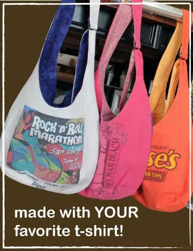 Double-dipped recycling: reused t-shirt, remade into a reusable market bag!