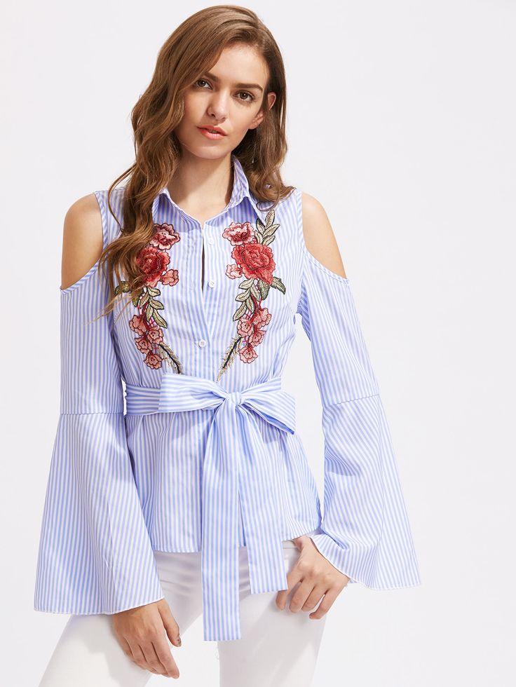 Blusa con bordado de mangas acampanadas de rayas con cordón -Spanish  SheIn(Sheinside)