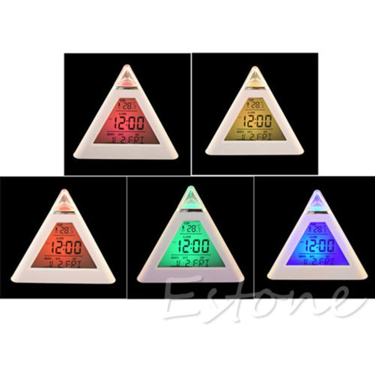 Neue 7 Farbe LED Farbwechsel Digitale Pyramide Thermometer Wecker