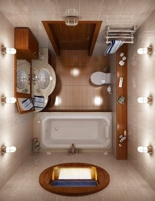 small bathroom... Love the light fixtures and brilliant use of space!
