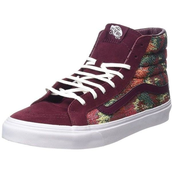 Vans Mens Sk8-Hi Slim Hight Top Lace Up Fashion Sneaker ($25) ❤ liked on Polyvore featuring men's fashion, men's shoes, men's sneakers, purple, shoes, mens topsiders, mens shoes, mens boat shoes, mens sports shoes and mens canvas slip on deck shoes