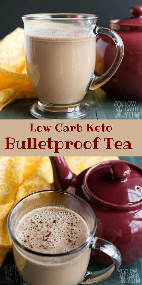 A creamy keto Bulletproof tea is the perfect way to start the day if you aren't a coffee drinker. It's loaded with healthy fats for any low carb diet. #ketodiet #LowCarb   LowCarbYum.com via @lowcarbyum