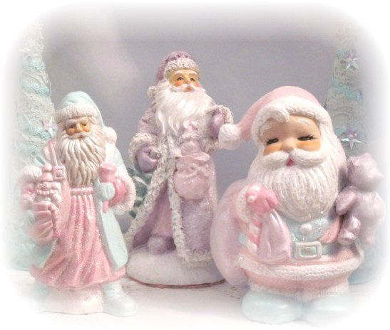 Aqua/PINK SANTA Claus St Nick Figurine by RoseChicFriends on Etsy, $14.99: Aquapink Santa