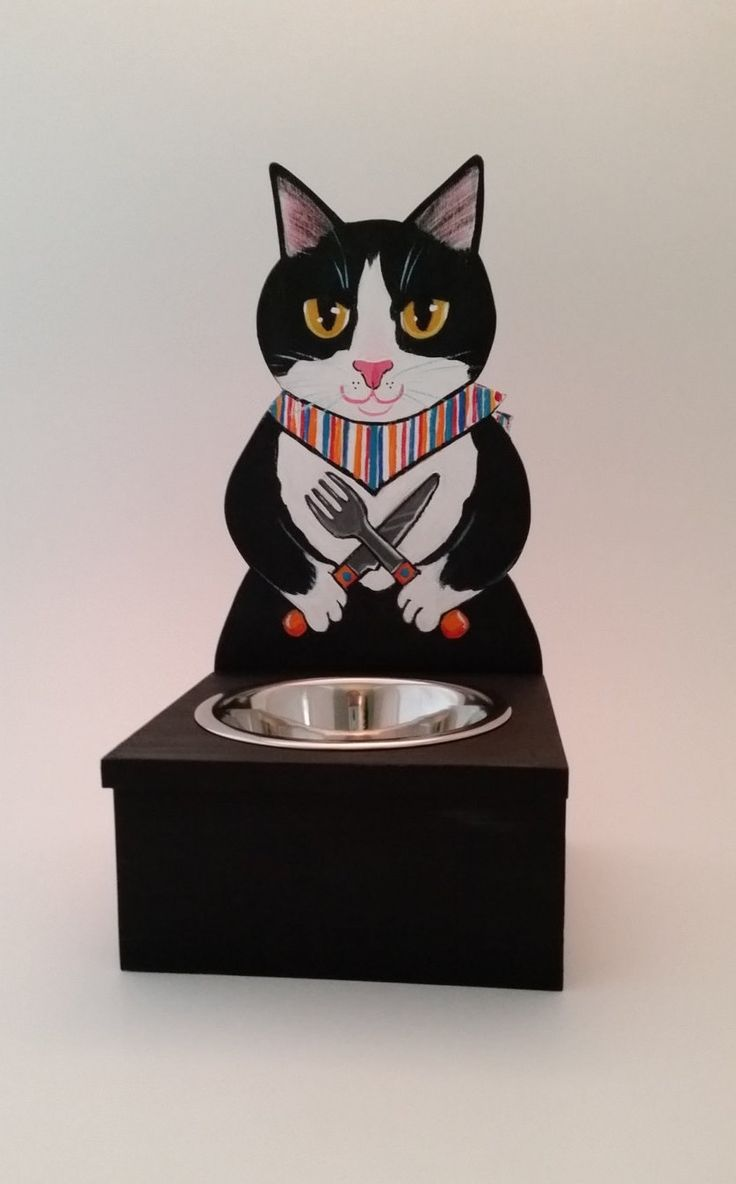 Tuxedo Cat Food Bowl Holder ~Handmade Painted Wood Art ~Pet Feeder ~Fiestaware Style ~Cat Dish ~Stainless Bowl Included ~Feeding Stand by KittyCatStudio on Etsy