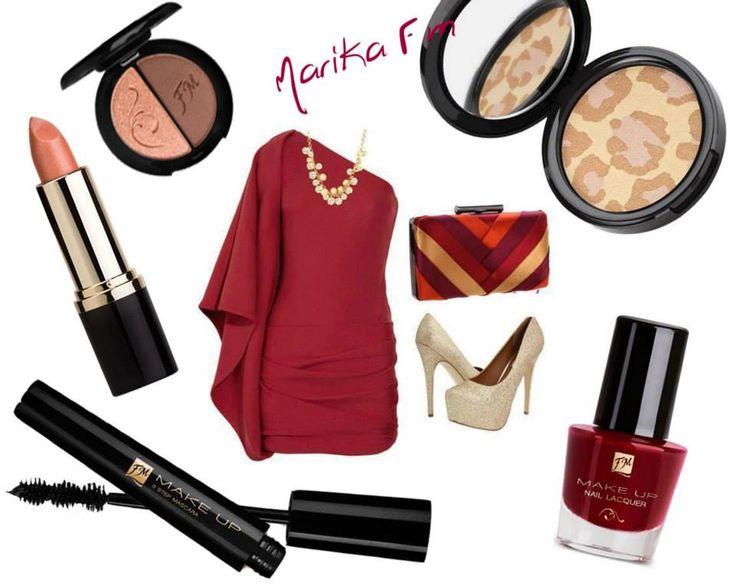 - c008 Duo ombretti Volcanic brown - li03 Rossetto Australian sand - m002 3 Step Mascara - p019 Polvere illuminante multicolore Golden jewel - n010 Smalto per unghie Deep scarlet  #FMGroup #makeup #eyeshadows #lipstick #lips #fashion #moda #outfit #red #redpassion #black #eyeliner #mascara #shoes