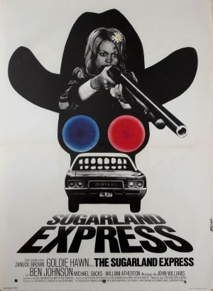 The Sugarland Express, 1974 - original vintage film poster for the French release of the movie directed by Steven Spielberg and starring Goldie Hawn, listed on AntikBar.co.uk