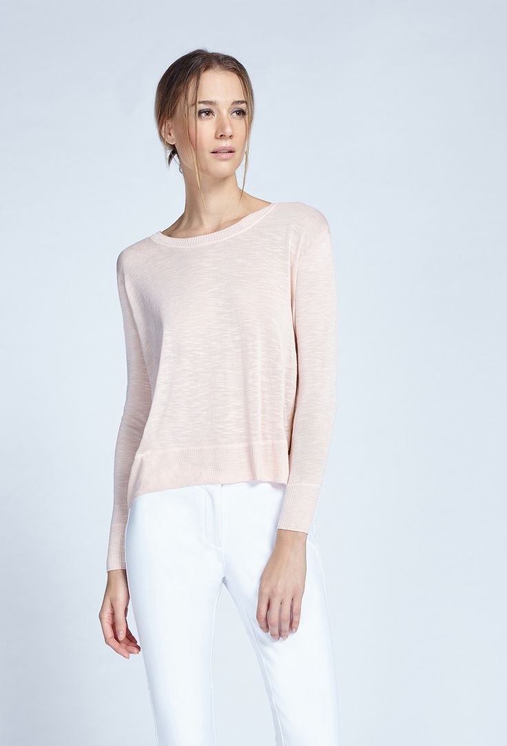 Noel Asmar Fashion, Asymmetrical Sweater in Champagne Pink. Spring 17. Stylish lightweight sweater that works with every outfit through the season.