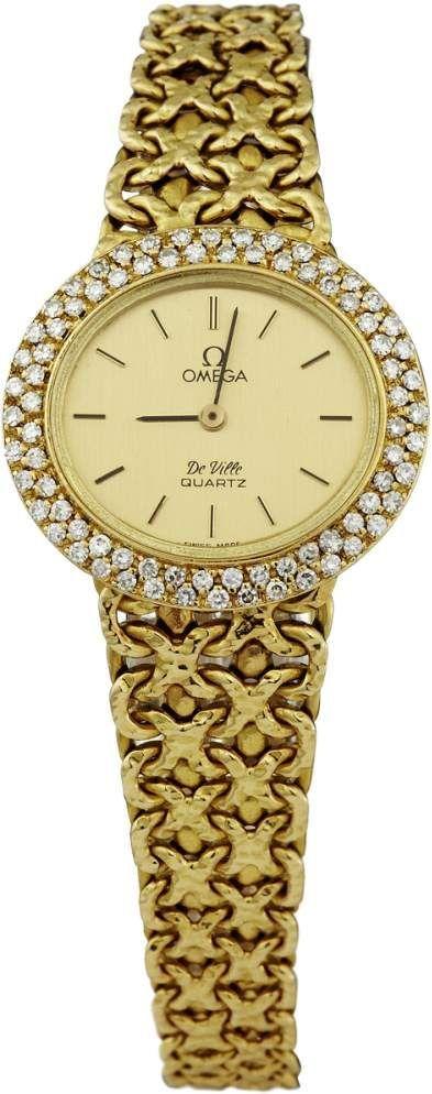 """Schmuckuhr """"Omega"""" 70-er Jahre. """"Omega De Ville"""". Gehäuse und originales, geflochtenes Armband aus — Taschen- und Armbanduhren"""