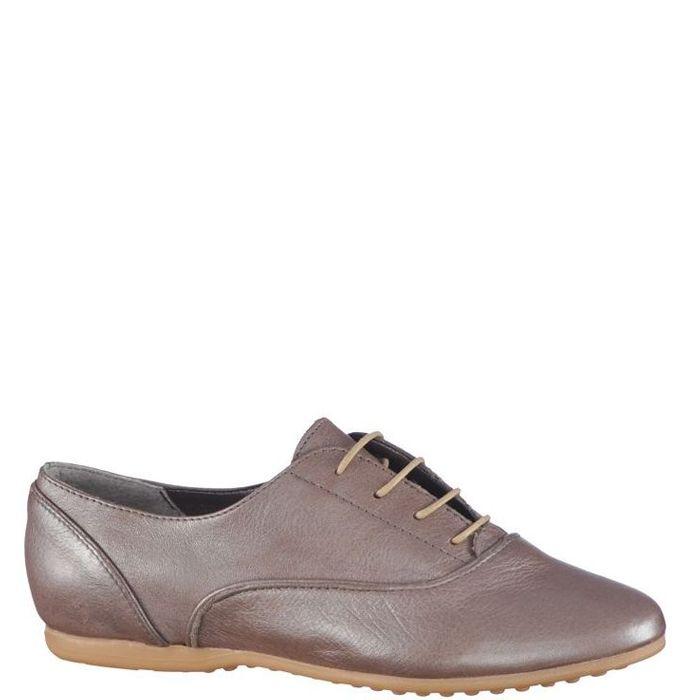 Pantofi cu talpa subtire, pentru femei, marca Bonneville, culoare gri metalic. Sunt din piele naturala atat in exterior cat si in interior. Inchiderea se face cu siret subtire cerat.