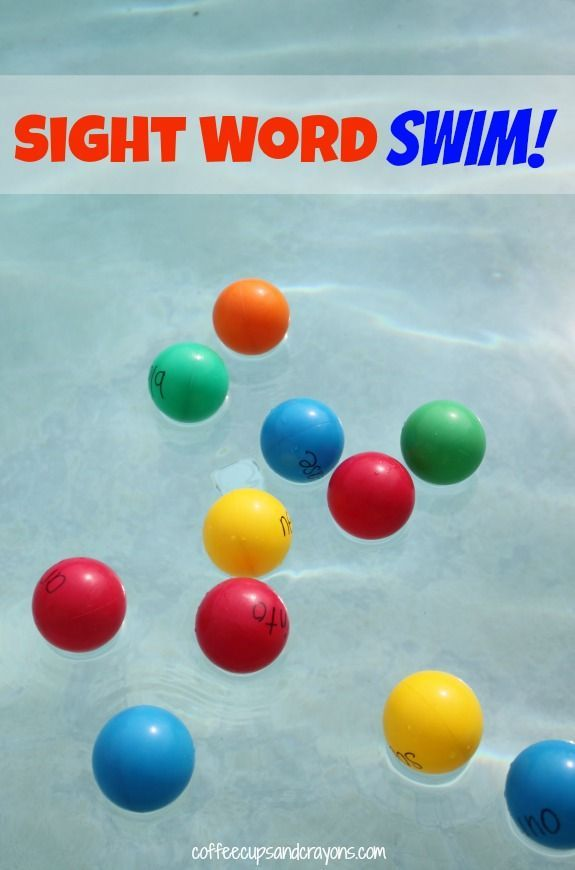 Sight Word Swim!  An active way to let kids have fun while practicing sight words. (Coffee Cups and Crayons)