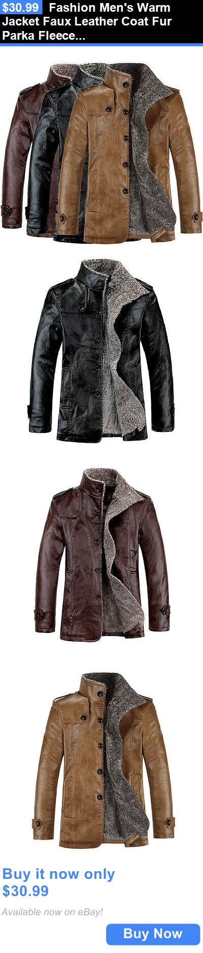 Men Coats And Jackets: Fashion Mens Warm Jacket Faux Leather Coat Fur Parka Fleece Jacket Slim Coat BUY IT NOW ONLY: $30.99