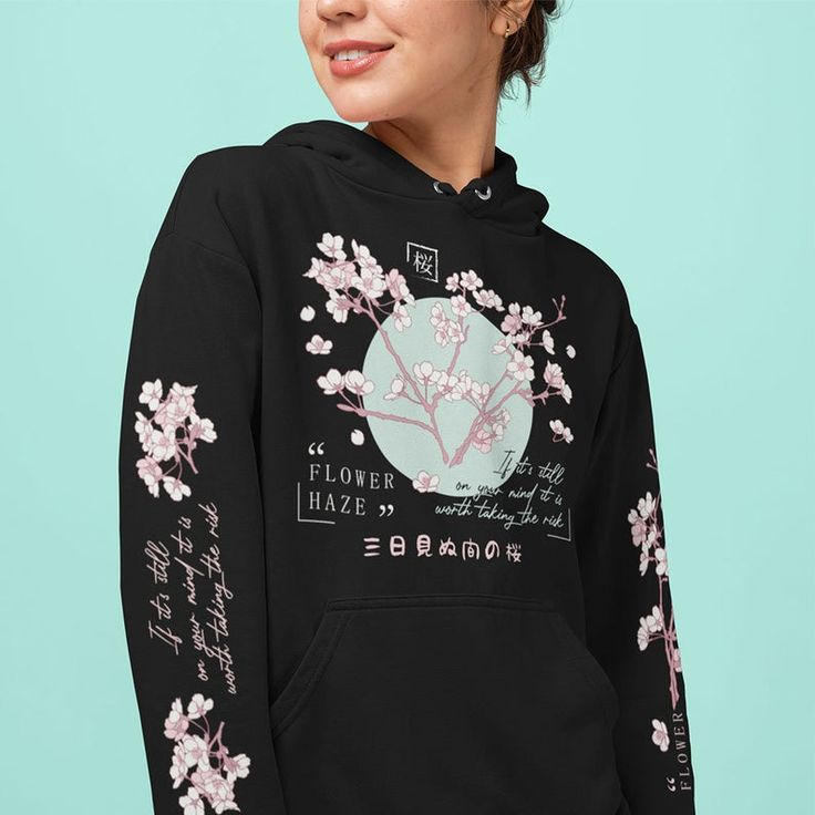 Japanese cherry blossom hoodie aesthetic yami kawaii