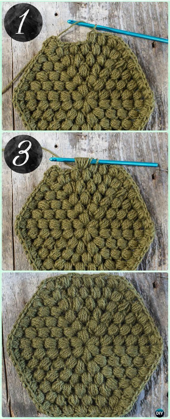Crochet Puff Stitch Hexagon Motif Free Pattern - Crochet Hexagon Motif Free Patterns