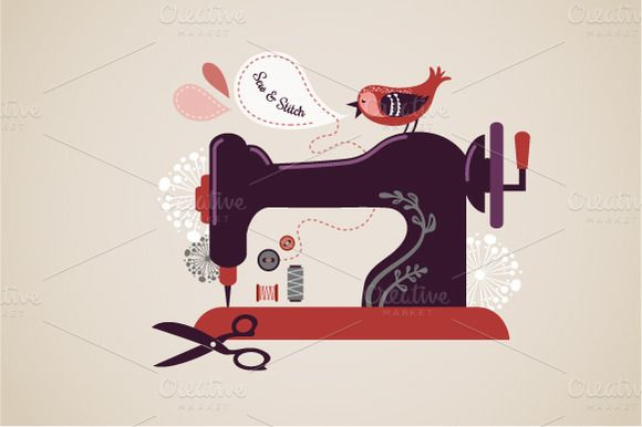 Vintage sewing machine illustration ~ Illustrations on Creative Market
