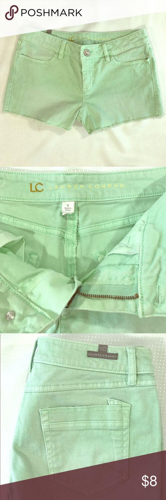 "Sz 8 Lauren Conrad Fringe Dyed Cutoff Jean Shorts Sz 8 Lauren Conrad Fringe Light Green Dyed Cutoff Jean Shorts 11"" Length, 16"" Waist, 9"" Rise. Lauren Conrad  Shorts Jean Shorts"