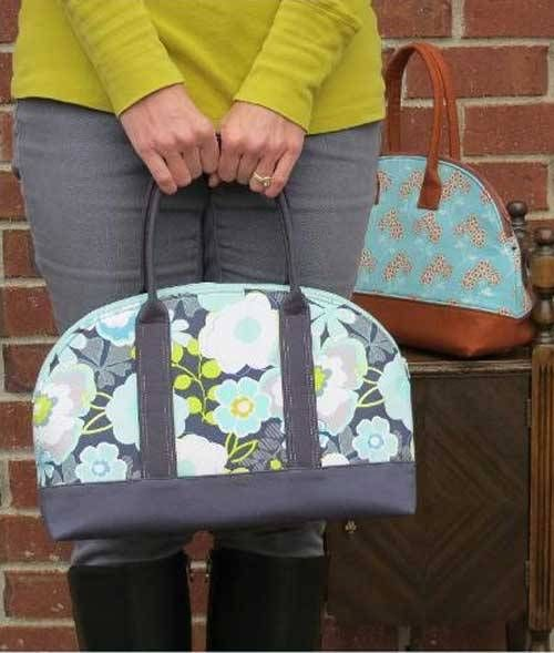 This modern bag is a twist on the traditional bowling bag style.