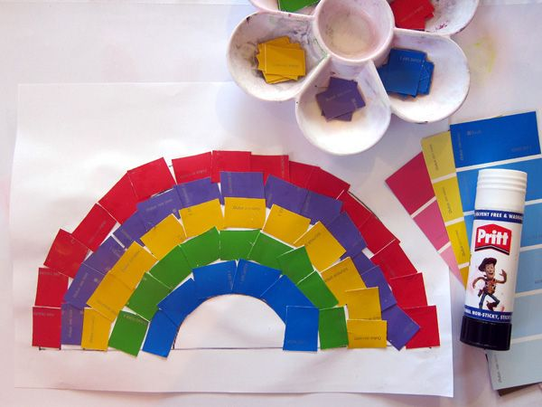 St. Patrick's Day Craft for Kids-- Paint Chip Rainbow