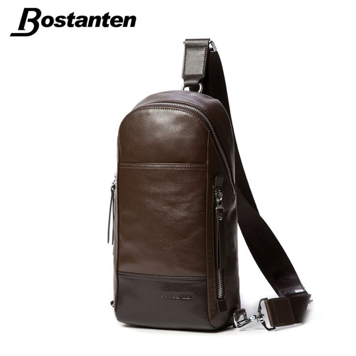 Bostanten Men's Vintage Cowhide Genuine Leather Bag Chest Pack Messenger Travel Shoulder Cross Body Sling Pack Chest Casual Bag