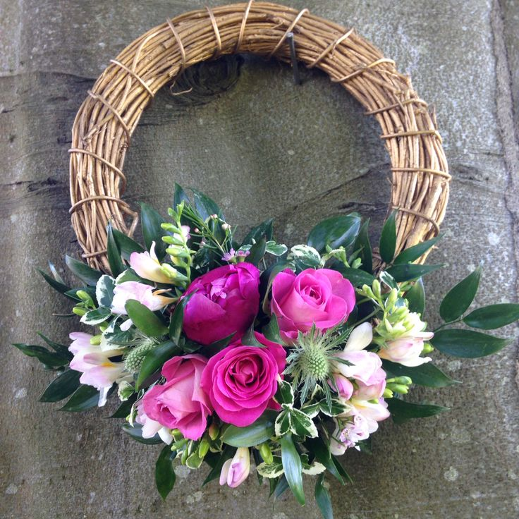 Willow wreaths with peonies, roses and freesia made this week