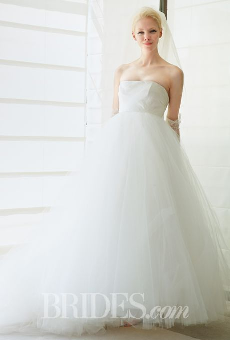 "Brides: Justina McCaffrey - Spring 2015. Style 1424, ""Zoella"" strapless draped satin and tulle ball gown wedding dress, Justina McCaffrey"