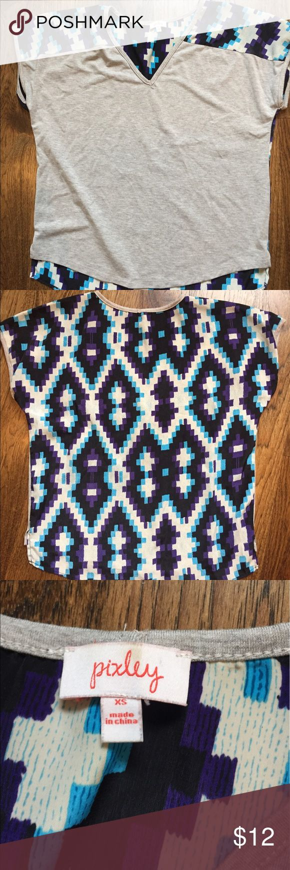 Aztec print back Pocket V neck This top is really cute and very comfortable to wear pixley Tops Tees - Short Sleeve