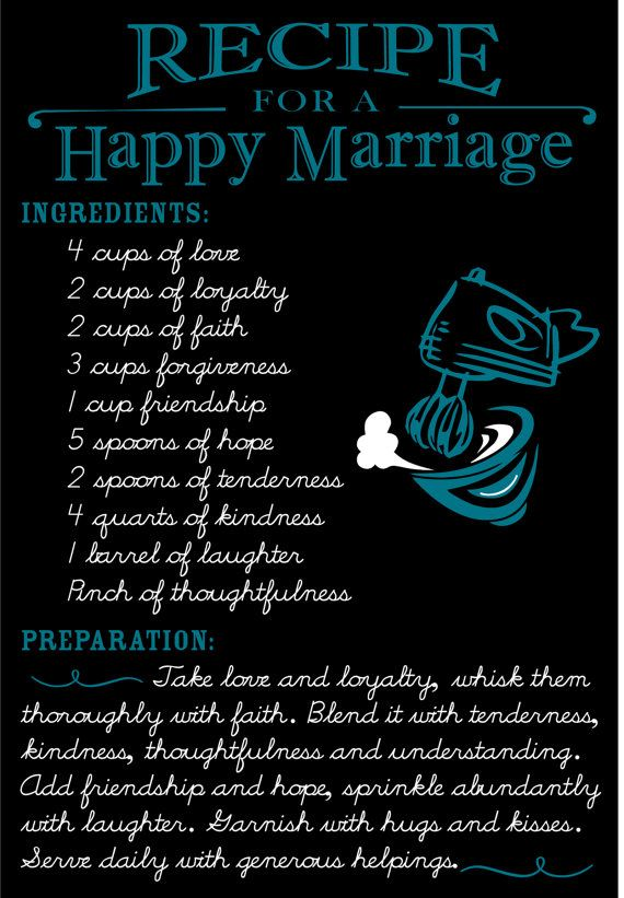 Wood Recipe For Happy Marriage Customizable Quote By OPGDesigns