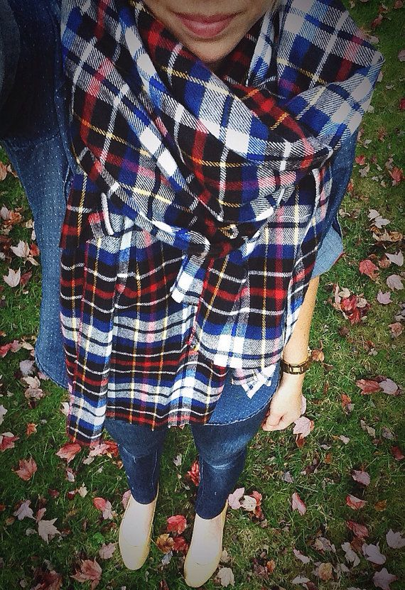 If I lived somewhere where it was cold, this is what I would be wearing. - SALE Blue/Red Tartan Blanket Scarf by TheProvidenceStory on Etsy, $35.00