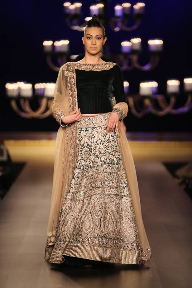 Manish Malhotra at India Couture Week 2014 - elaborate green and gold bridal lehnga with velvet blouse