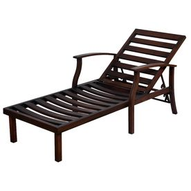 Allen roth gatewood slat aluminum patio chaise lounge for Belmont brown wicker patio chaise lounge