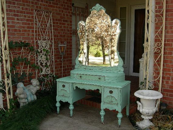 This Listing Is To Custom Order Your Very Own Antique Vanity Dresser /  Makeup Dressing Table With Mirror To Be Refinished And Painted In Any