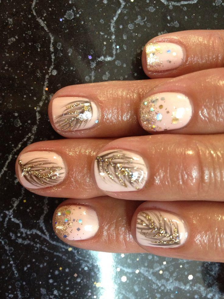 Nail shellac gelish gel nails nail art cute pink gold glitter feather