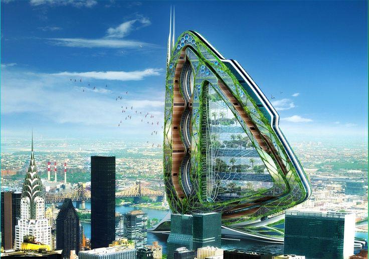 pohled na Vážku z budovy Empire state building. foto: Vincent Callebaut Architectures