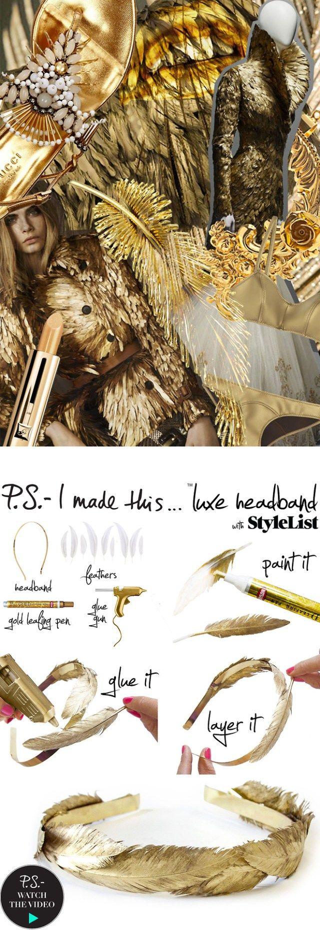 Diadema de plumas doradas - Manualidades Gratis                                                                                                                                                                                 Más