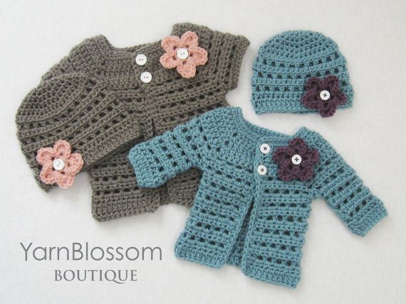 Baby CROCHET PATTERN Mini Miss Cardigan & Beanie (4 sizes included from preemie to 6 months) Instant Download via Etsy