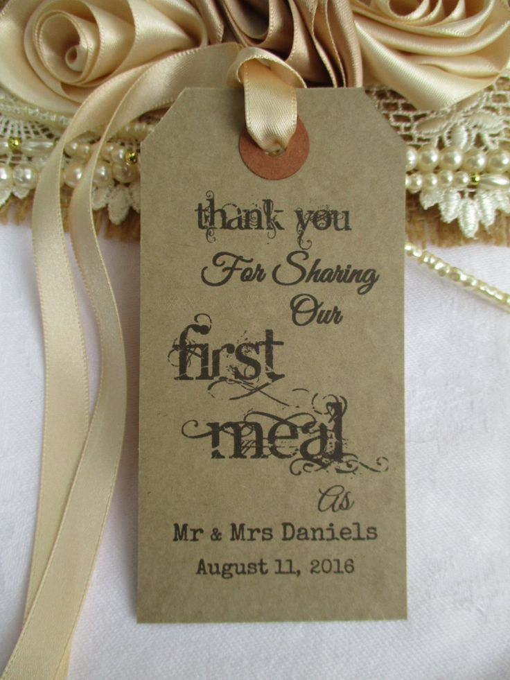 personalized wedding thank you notes%0A Thank You For Sharing Our First Meal Wedding Name Place  Personalised  Napkin Tags