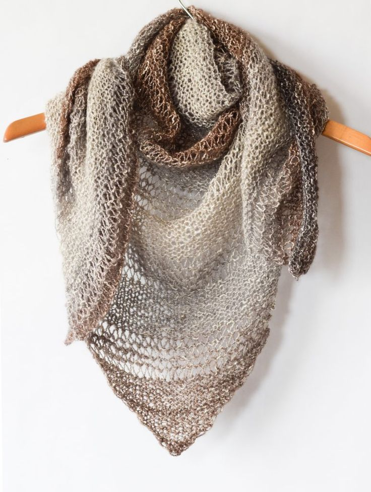 """How To Knit An Easy Triangle Shawl in garter stitch or garter and dropped stitches if you like it airy.  Use """"Shawl"""" yarn, worsted weight."""