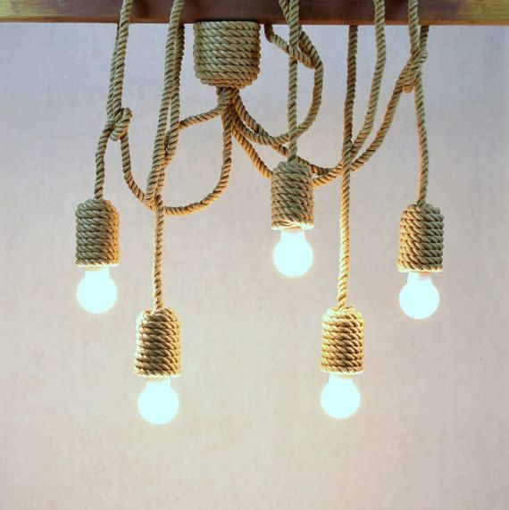 Jute long chandelier pendant light made from sailing by StyLova