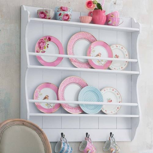 Plates and cups of varying patterns. #cups #plates #pink
