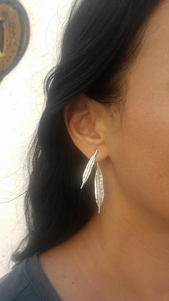 Front Back Hanging 24ct Gold plated Sterling Silver Ear Jacket T Bar Earrings