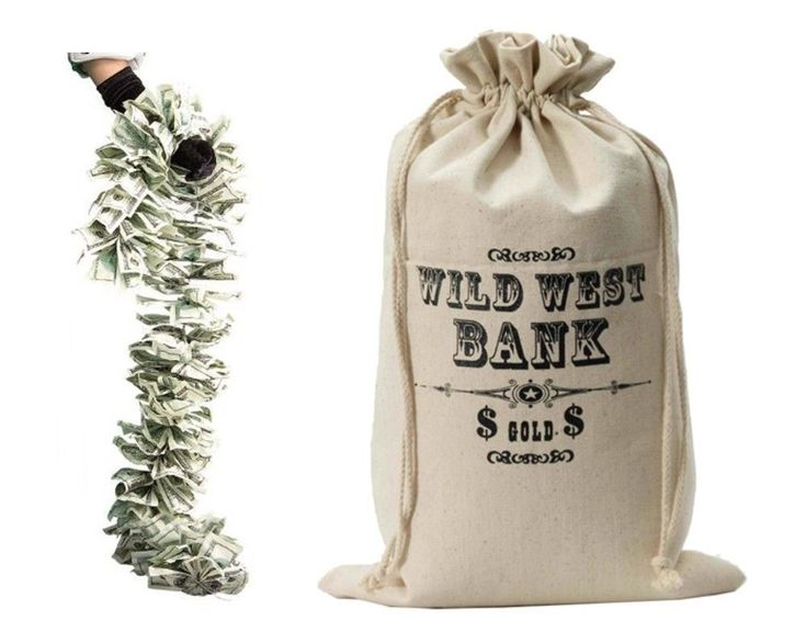 Wild West Bank Robber Money Bag Sack Pouch Outlaw Western Costume Accessory Prop  | eBay