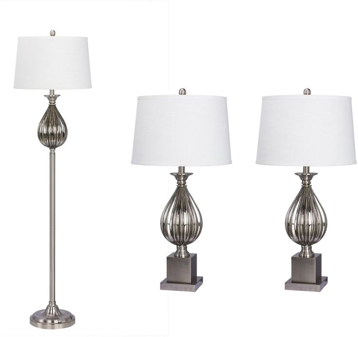 Transitional Lamp Set Brushed Steel Resin Glass Finish Linen Shade 3 Piece New #Doesnotapply #Transitional #Lamp #Decoration #Set #Lighting