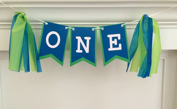 Boy's First Birthday Banner. Blue and green birthday banner, i am one banner, photo prop, customizeable