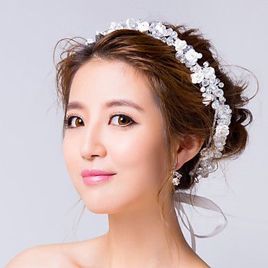 Clear Zirconia with White Roses Wreath Wedding Headpieces – GBP £ 30.14