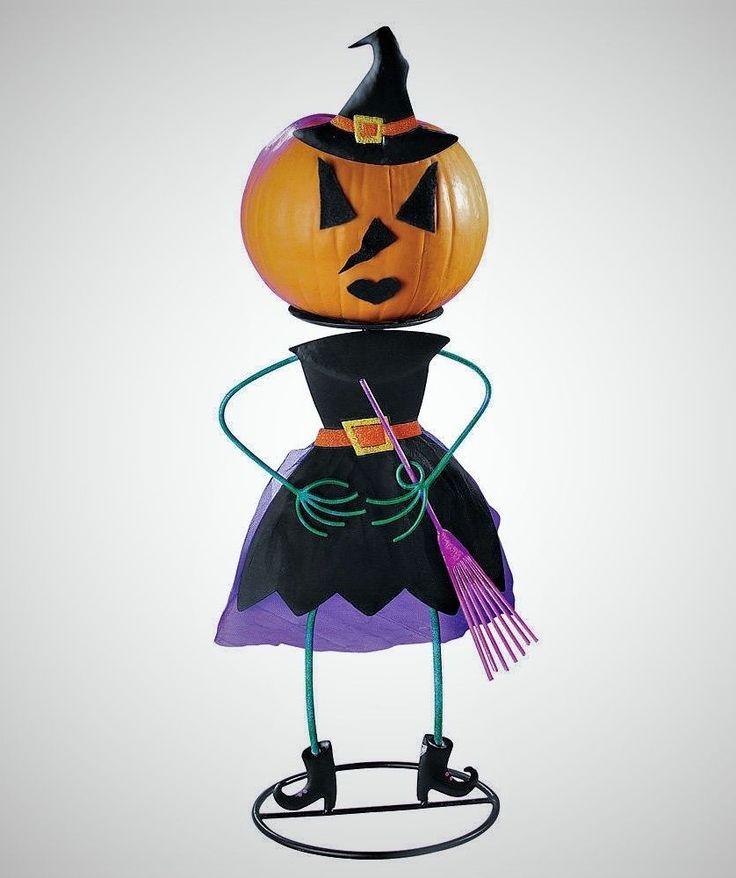 Metal Pumpkin Holder Black WITCH Figure Halloween Pumpkin Display Stand #Unbranded