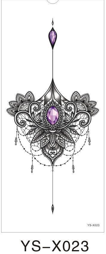 1PC Chest Flah Tattoo 24Models Big Flower Shoulder Arm Tattoos Sternum Henna B … #24models #chest #flower #shoulder #sternum