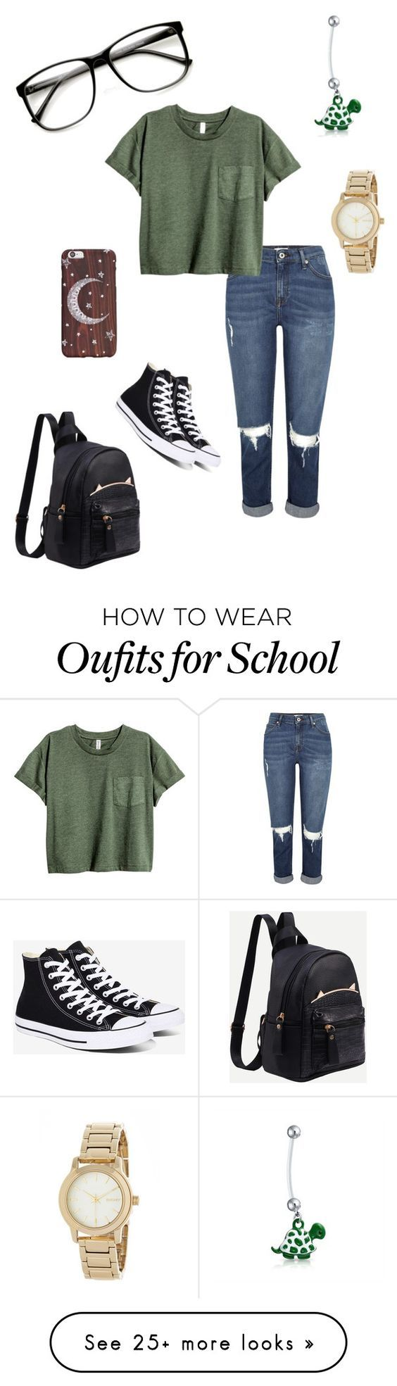 """""""Back to school"""" by jazlynvanessa on Polyvore featuring Converse, Bling Jewelry, DKNY and ZeroUV"""