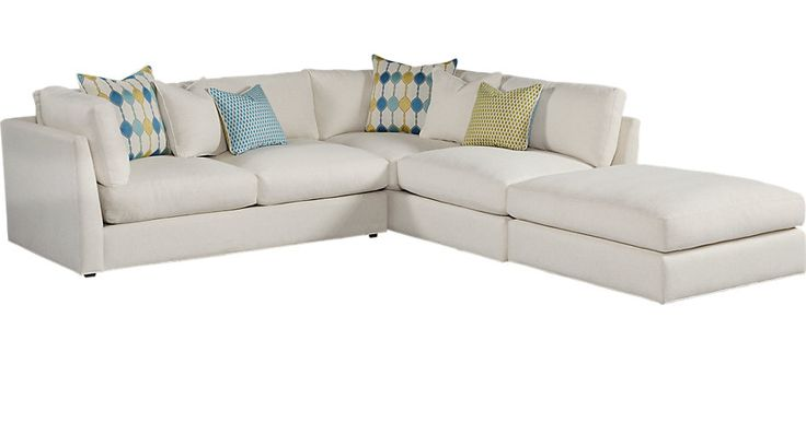 Cindy Crawford Home Crosby Street White 3 Pc Sectional from  Furniture